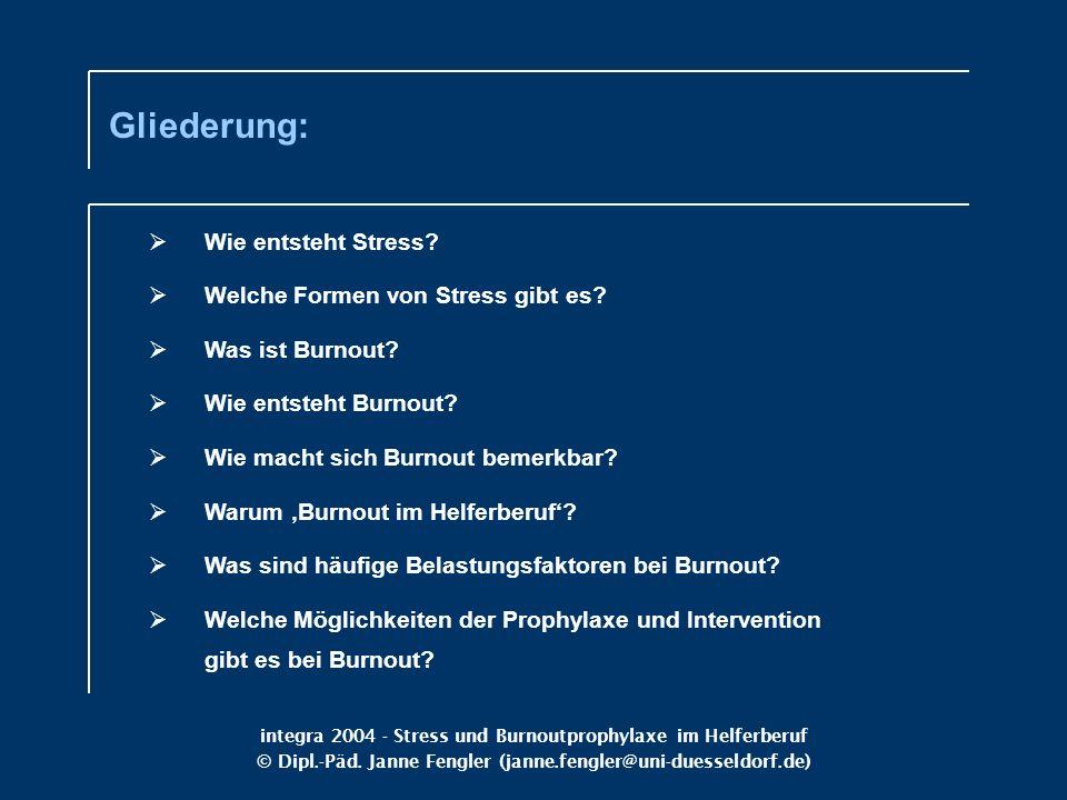 integra 2004 - Stress und Burnoutprophylaxe im Helferberuf © Dipl.-Päd. Janne Fengler (janne.fengler@uni-duesseldorf.de) Wie entsteht Stress? Welche F