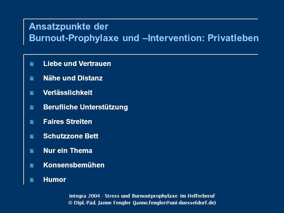 integra 2004 - Stress und Burnoutprophylaxe im Helferberuf © Dipl.-Päd. Janne Fengler (janne.fengler@uni-duesseldorf.de) Liebe und Vertrauen Nähe und