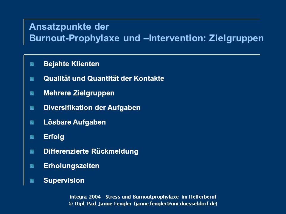 integra 2004 - Stress und Burnoutprophylaxe im Helferberuf © Dipl.-Päd. Janne Fengler (janne.fengler@uni-duesseldorf.de) Bejahte Klienten Qualität und