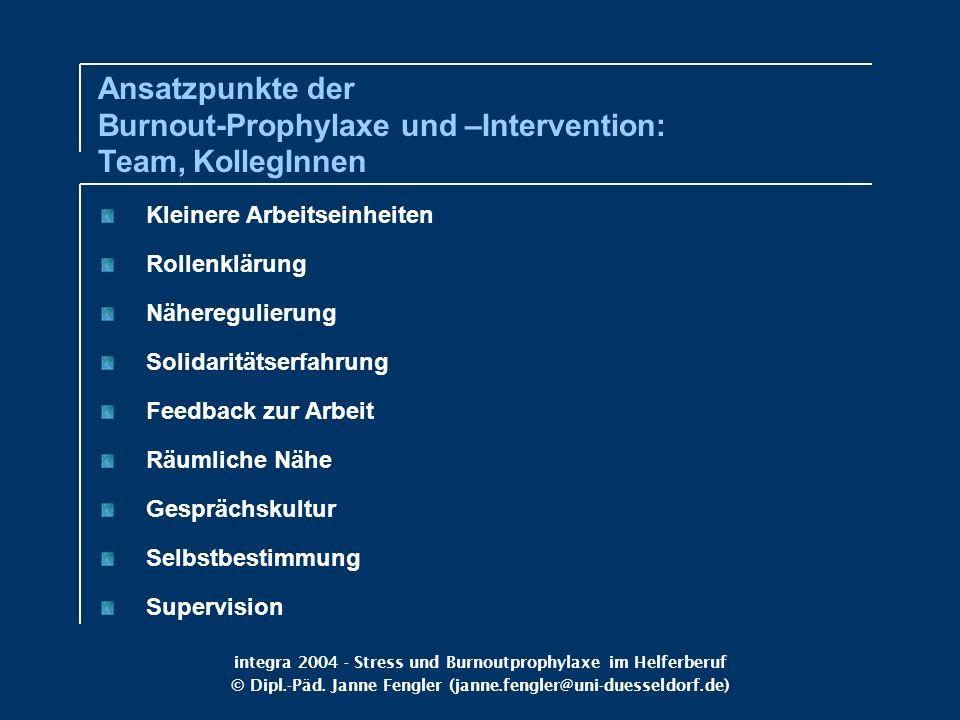 integra 2004 - Stress und Burnoutprophylaxe im Helferberuf © Dipl.-Päd. Janne Fengler (janne.fengler@uni-duesseldorf.de) Kleinere Arbeitseinheiten Rol