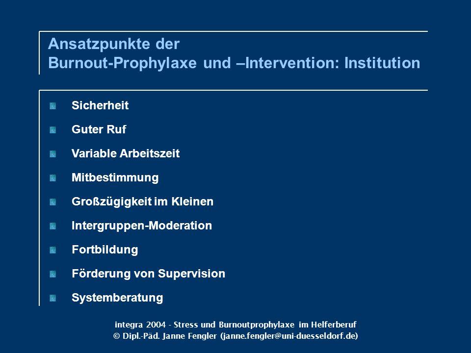 integra 2004 - Stress und Burnoutprophylaxe im Helferberuf © Dipl.-Päd. Janne Fengler (janne.fengler@uni-duesseldorf.de) Sicherheit Guter Ruf Variable