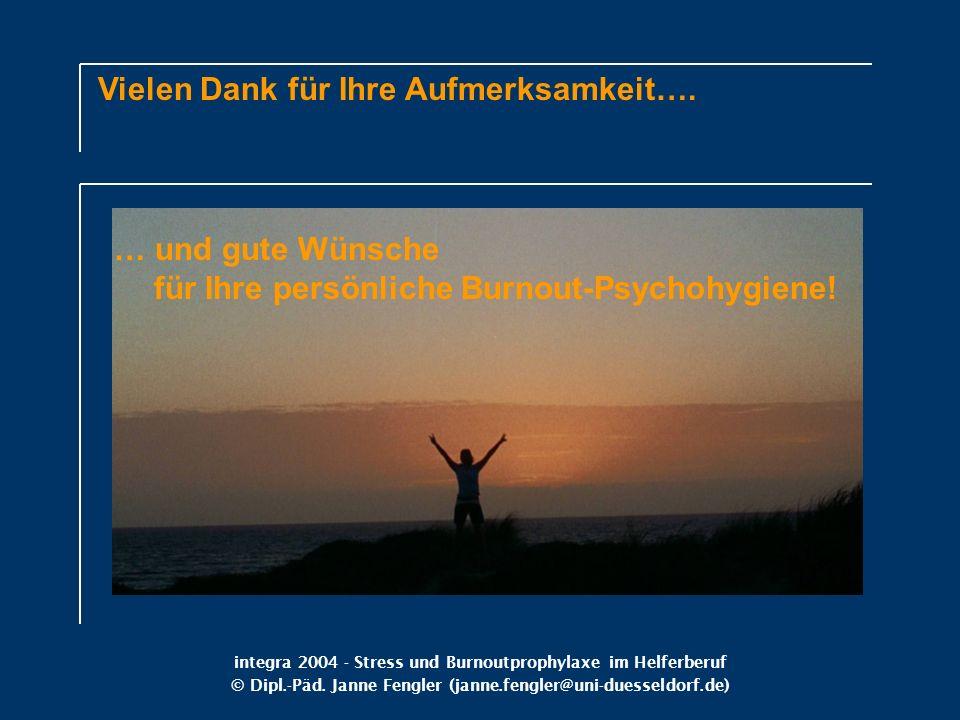 integra 2004 - Stress und Burnoutprophylaxe im Helferberuf © Dipl.-Päd. Janne Fengler (janne.fengler@uni-duesseldorf.de) Vielen Dank für Ihre Aufmerks