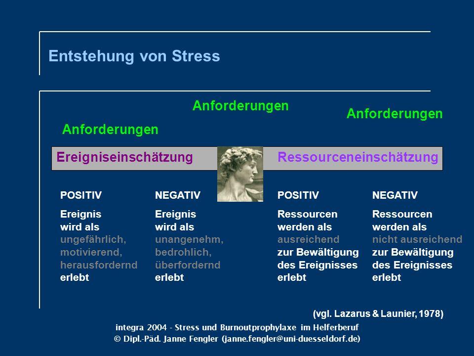 integra 2004 - Stress und Burnoutprophylaxe im Helferberuf © Dipl.-Päd. Janne Fengler (janne.fengler@uni-duesseldorf.de) Anforderungen Ereigniseinschä