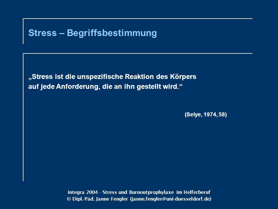 integra 2004 - Stress und Burnoutprophylaxe im Helferberuf © Dipl.-Päd. Janne Fengler (janne.fengler@uni-duesseldorf.de) Stress ist die unspezifische