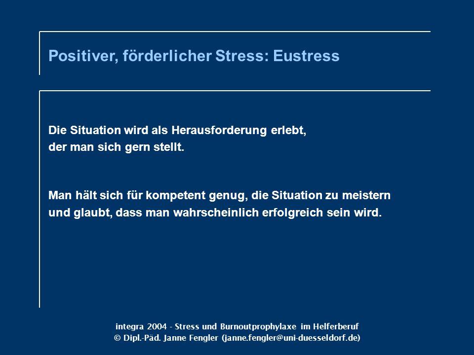 integra 2004 - Stress und Burnoutprophylaxe im Helferberuf © Dipl.-Päd. Janne Fengler (janne.fengler@uni-duesseldorf.de) Die Situation wird als Heraus