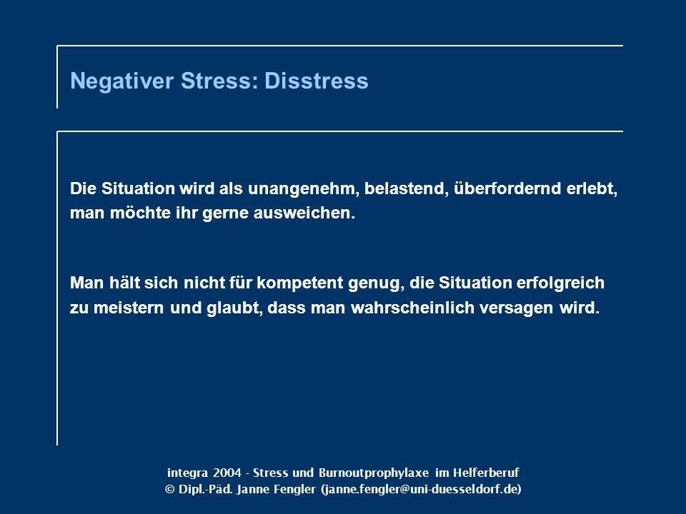 integra 2004 - Stress und Burnoutprophylaxe im Helferberuf © Dipl.-Päd. Janne Fengler (janne.fengler@uni-duesseldorf.de) Die Situation wird als unange
