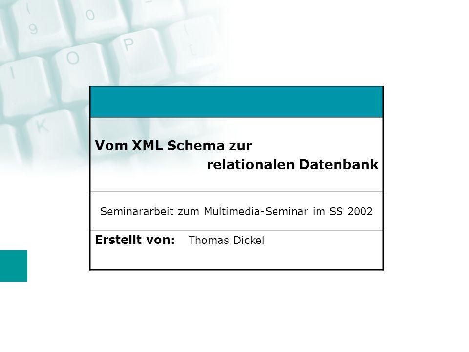 Umsetzung SQL Server 2000: Bulkloading XML Data XSD Annotations (Auswahl) sql:relation => Element ist Tabelle sql:field => Element ist Spalte sql:is-constant => Element ist nicht verknüpft, erscheint aber im XML (z.B.