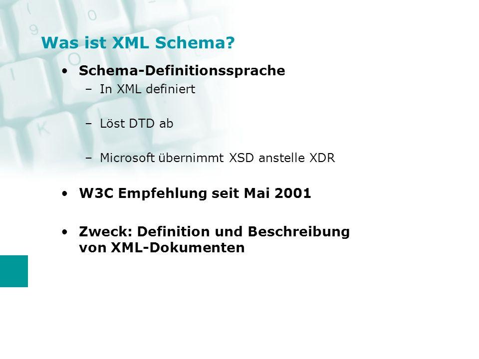 XML ist ein Standard in der Industrie Vorteil von XML Dokumenten: –Unabhängig von der eingesetzten Plattform –Einfache Handhabung der Daten Nachteile bei XML Dokumenten: –Bedingt durch die Verschachtelung der Elemente schlecht durchsuchbar –noch schlechter bei mehreren XML Dokumenten gleichzeitig Warum XML Daten in eine rel.