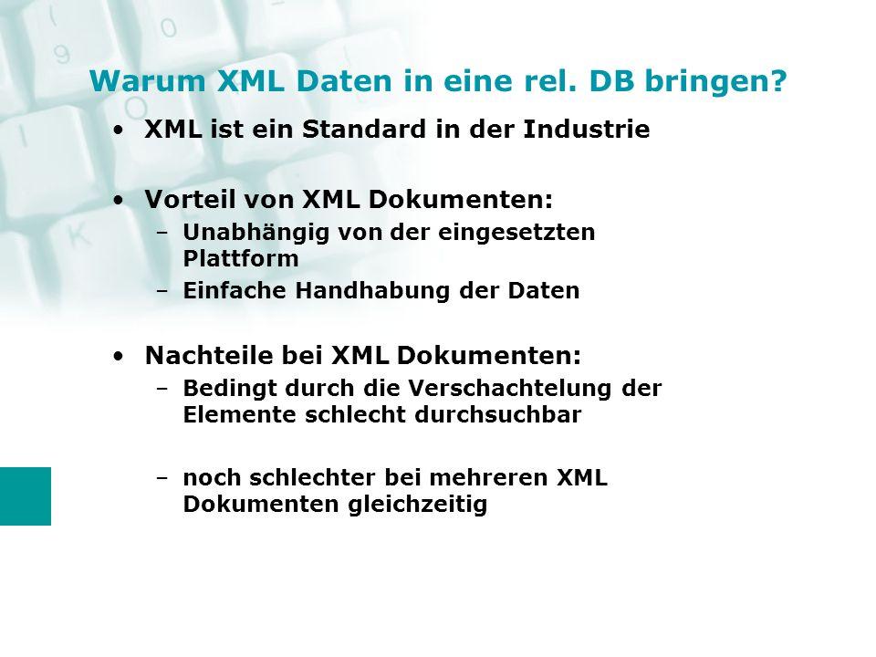XML als Datenformat in der Industrie erlaubt den Datenaustausch zwischen verschiedenen Unternehmen XML Schema unterstützt dies, indem es das Format definiert, aber die Freiheit der technischen Umsetzung lässt Warum XML Daten in eine rel.
