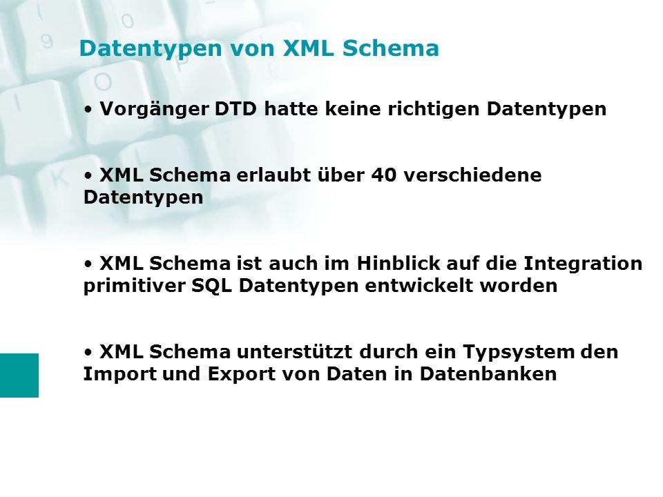 Datentypen von XML Schema