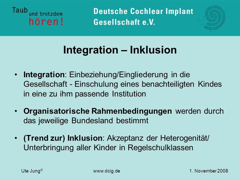 Integration – Inklusion Integration: Einbeziehung/Eingliederung in die Gesellschaft - Einschulung eines benachteiligten Kindes in eine zu ihm passende