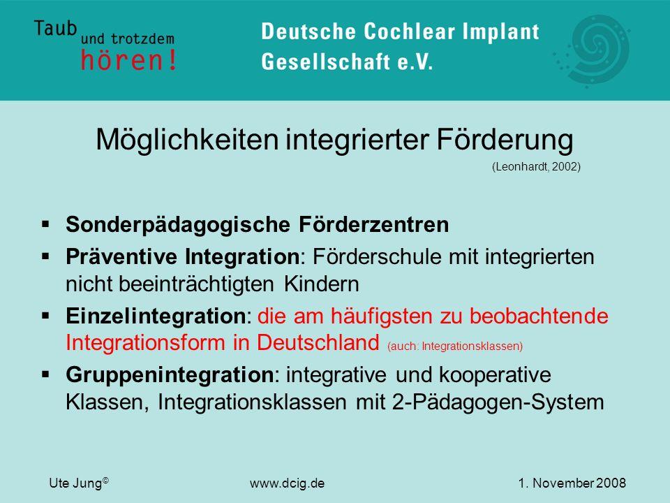 Möglichkeiten integrierter Förderung (Leonhardt, 2002) Sonderpädagogische Förderzentren Präventive Integration: Förderschule mit integrierten nicht be