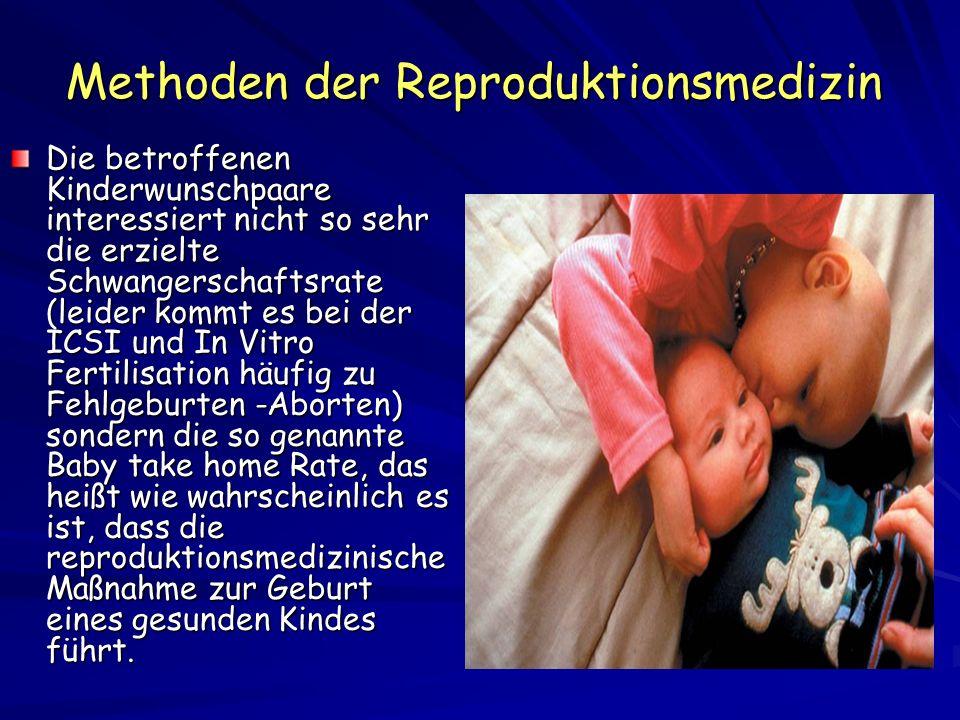 Risiken der Reproduktionsmedizin In einer jüngsten Studie aus den USA wurde nachgewiesen dass 6,2 % von 1.462, nach ICSI/IVF geborenen Kinder und 5 % der nach intrauteriner Insemination entstandenen Kinder schwere Geburtsfehler wie Herzfehler oder Muskel- Skelettanomalien aufweisen (Olson,C.K.