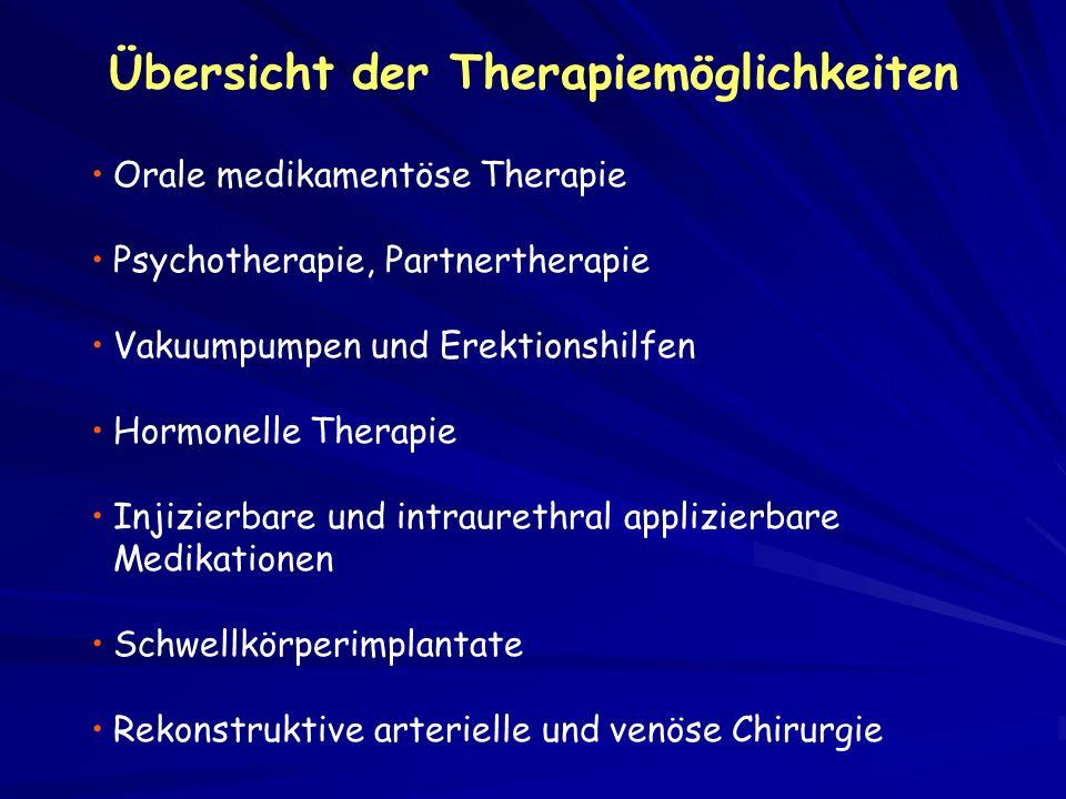 Orale medikamentöse Therapie Psychotherapie, Partnertherapie Vakuumpumpen und Erektionshilfen Hormonelle Therapie Injizierbare und intraurethral appli