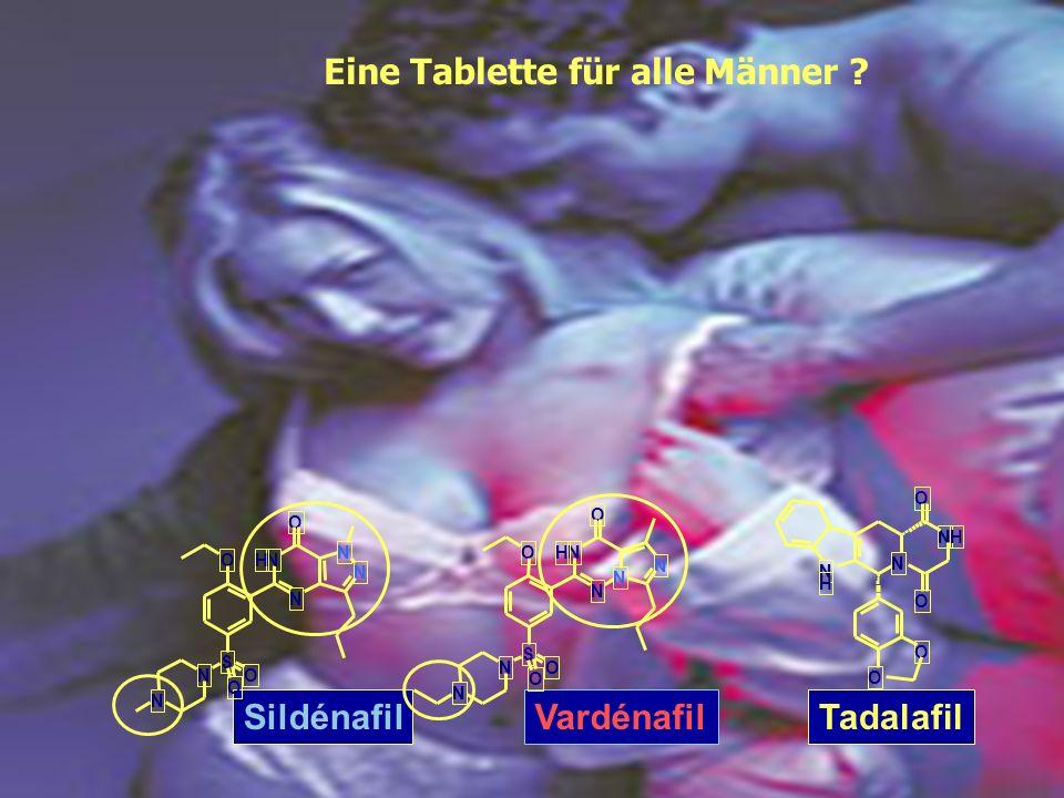 SildénafilVardénafilTadalafil N H N NH O O O O NH N N N O O S N O O N NH N N N O O S N O O N Eine Tablette für alle Männer ?