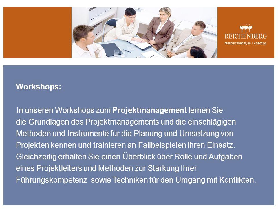 Workshops: In unseren Workshops zum Projektmanagement lernen Sie die Grundlagen des Projektmanagements und die einschlägigen Methoden und Instrumente für die Planung und Umsetzung von Projekten kennen und trainieren an Fallbeispielen ihren Einsatz.