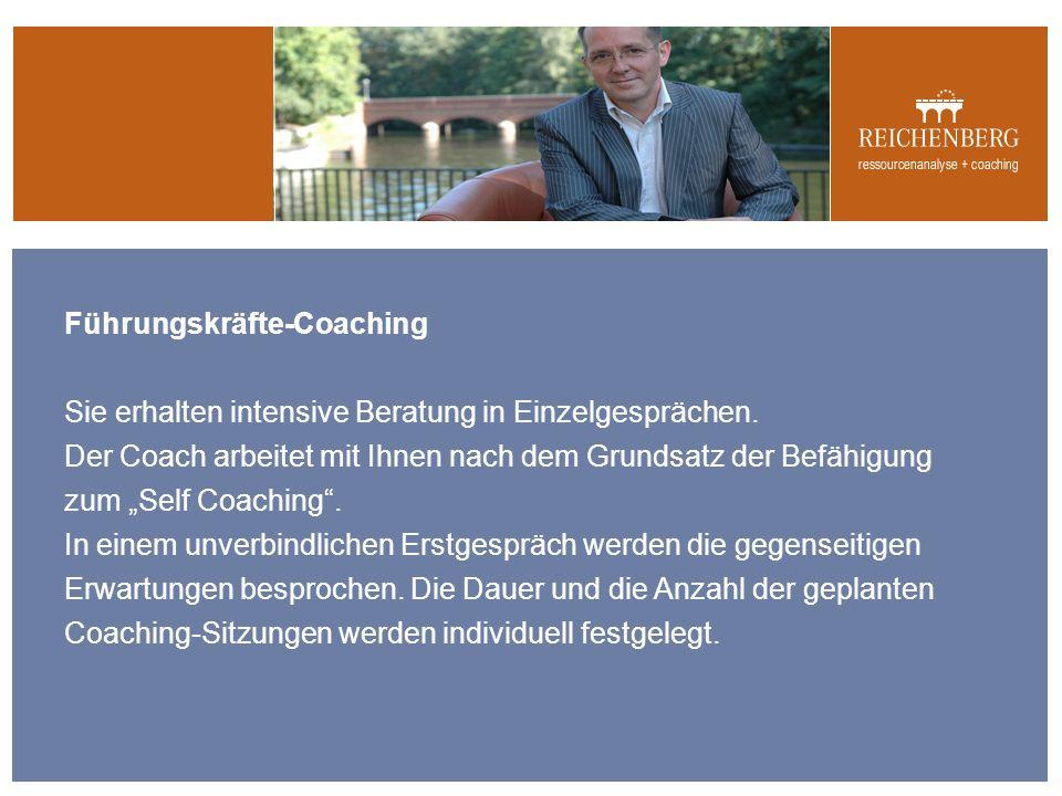 Führungskräfte-Coaching Sie erhalten intensive Beratung in Einzelgesprächen.