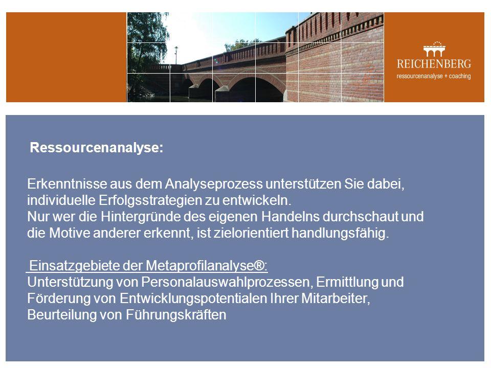 Ressourcenanalyse: Erkenntnisse aus dem Analyseprozess unterstützen Sie dabei, individuelle Erfolgsstrategien zu entwickeln.