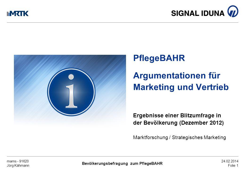 mams - 91620 Jörg Kähmann Bevölkerungsbefragung zum PflegeBAHR 24.02.2014 Folie 1 PflegeBAHR Argumentationen für Marketing und Vertrieb Ergebnisse ein