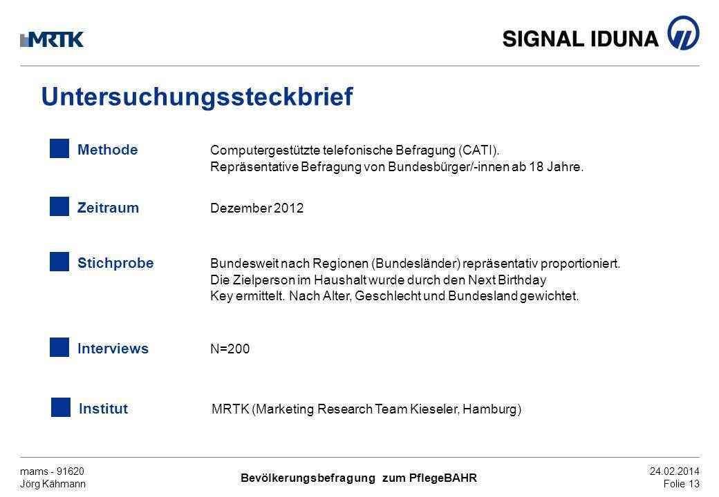 mams - 91620 Jörg Kähmann Bevölkerungsbefragung zum PflegeBAHR 24.02.2014 Folie 13 Untersuchungssteckbrief Methode Computergestützte telefonische Befr