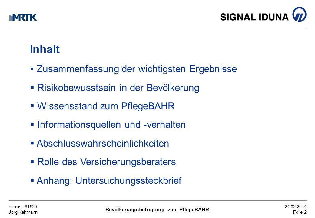 mams - 91620 Jörg Kähmann Bevölkerungsbefragung zum PflegeBAHR 24.02.2014 Folie 3 Zusammenfassung der wichtigsten Ergebnisse (1) In der Bevölkerung besteht ein stark ausgeprägtes Bewusstsein für drohende Versorgungs- lücken bei Pflegebedürftigkeit.