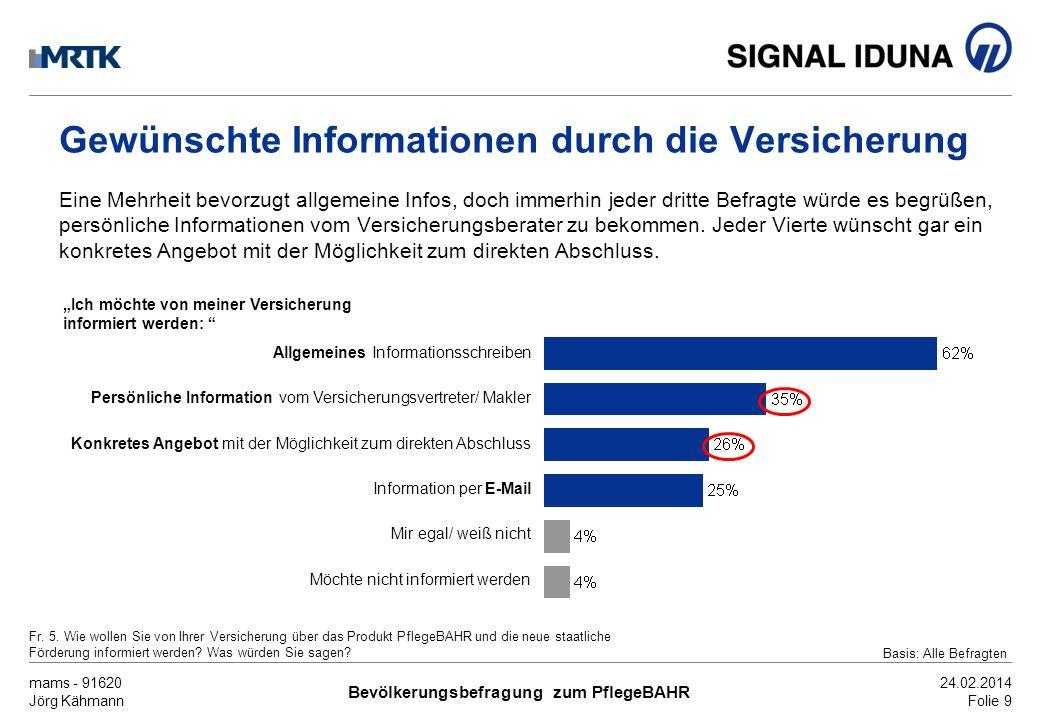 mams - 91620 Jörg Kähmann Bevölkerungsbefragung zum PflegeBAHR 24.02.2014 Folie 9 Gewünschte Informationen durch die Versicherung Eine Mehrheit bevorz