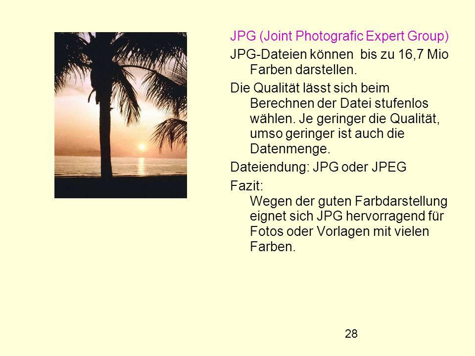 28 JPG (Joint Photografic Expert Group) JPG-Dateien können bis zu 16,7 Mio Farben darstellen. Die Qualität lässt sich beim Berechnen der Datei stufenl