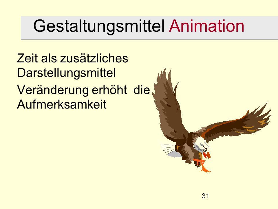 31 Gestaltungsmittel Animation Zeit als zusätzliches Darstellungsmittel Veränderung erhöht die Aufmerksamkeit