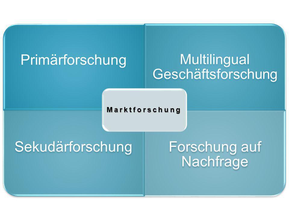 Primärforschung Multilingual Geschäftsforschun g SekudärforschungForschung auf Nachfrage Marktforschung