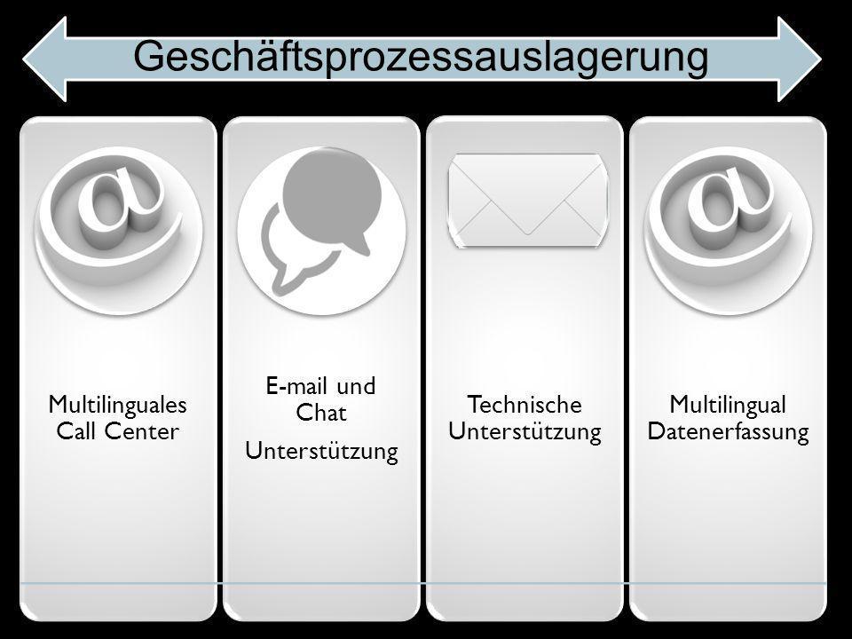 Multilinguales Call Center E-mail und Chat Unterstützung Technische Unterstützung Multilingual Datenerfassun g Geschäftsprozessauslagerung