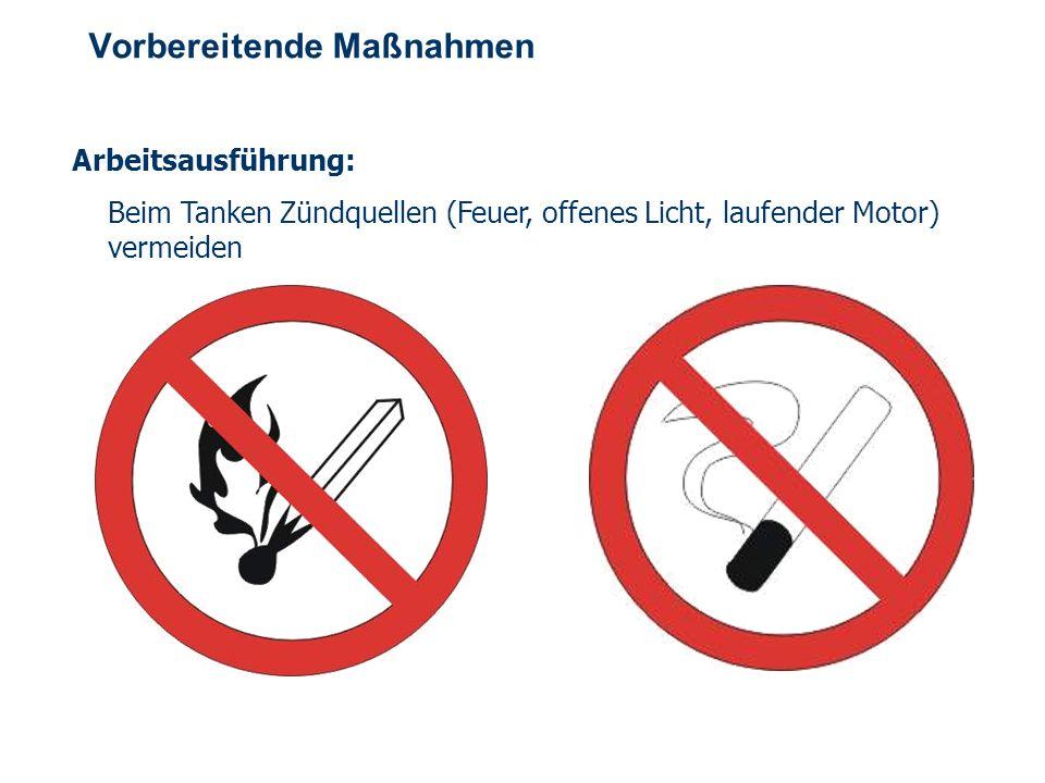 OBM Stefan Schiavulli www.ff-blofeld.de Ausbildung Feuerwehr Blofeld Folie 5 Vorbereitende Maßnahmen Arbeitsausführung: Beim Tanken Zündquellen (Feuer, offenes Licht, laufender Motor) vermeiden