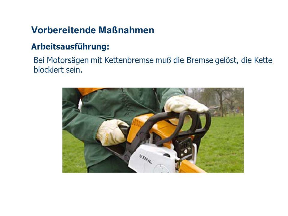 OBM Stefan Schiavulli www.ff-blofeld.de Ausbildung Feuerwehr Blofeld Folie 8 Vorbereitende Maßnahmen Arbeitsausführung: Bei Motorsägen mit Kettenbremse muß die Bremse gelöst, die Kette blockiert sein.
