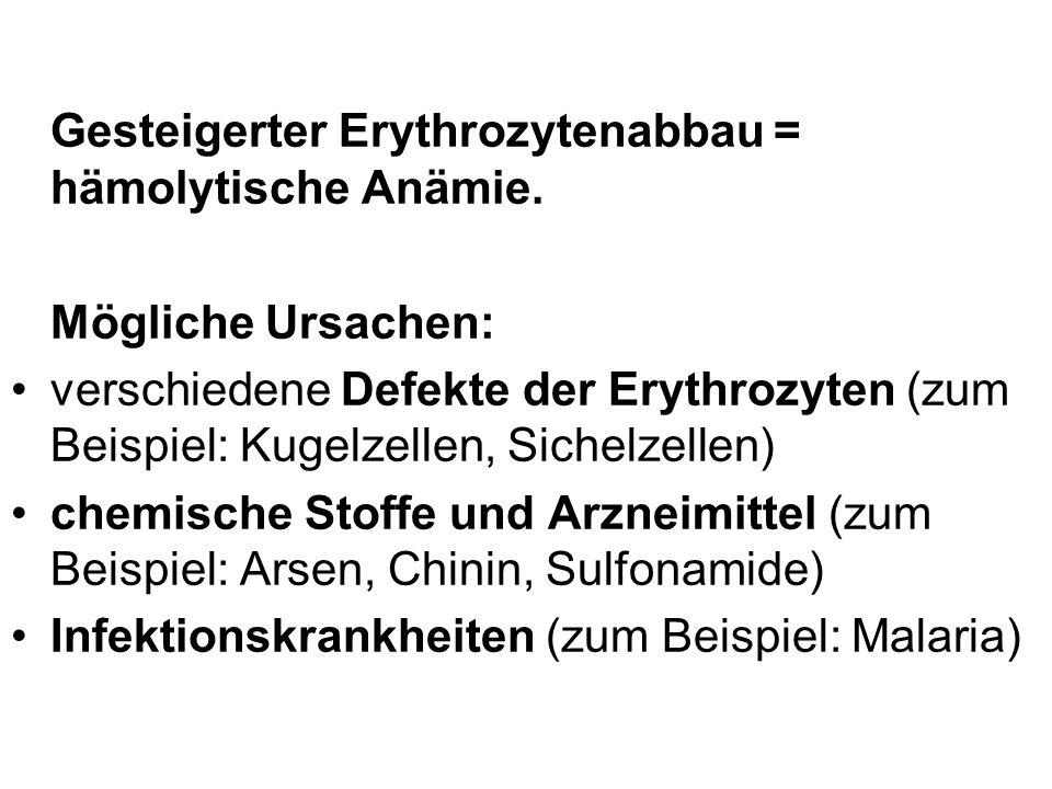 Gesteigerter Erythrozytenabbau = hämolytische Anämie. Mögliche Ursachen: verschiedene Defekte der Erythrozyten (zum Beispiel: Kugelzellen, Sichelzelle