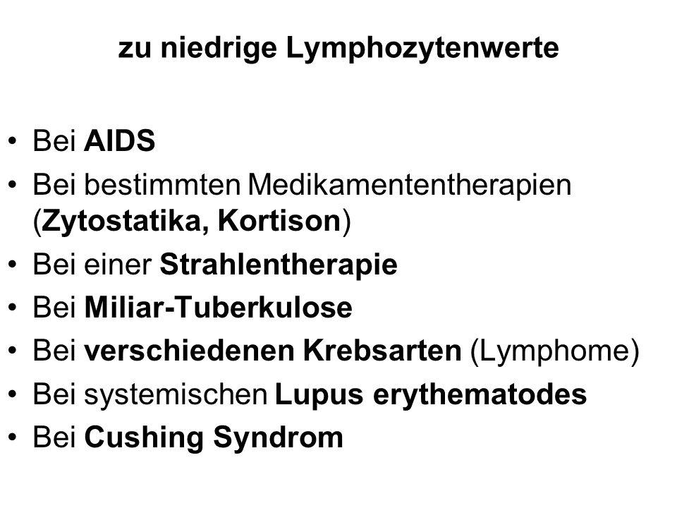zu niedrige Lymphozytenwerte Bei AIDS Bei bestimmten Medikamententherapien (Zytostatika, Kortison) Bei einer Strahlentherapie Bei Miliar-Tuberkulose B