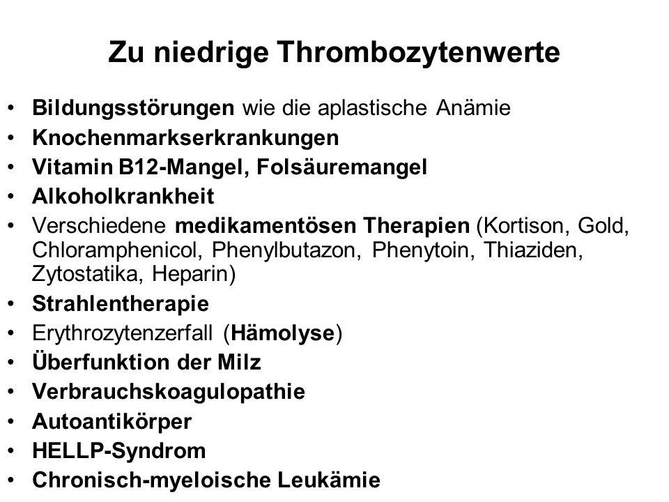 Zu niedrige Thrombozytenwerte Bildungsstörungen wie die aplastische Anämie Knochenmarkserkrankungen Vitamin B12-Mangel, Folsäuremangel Alkoholkrankhei