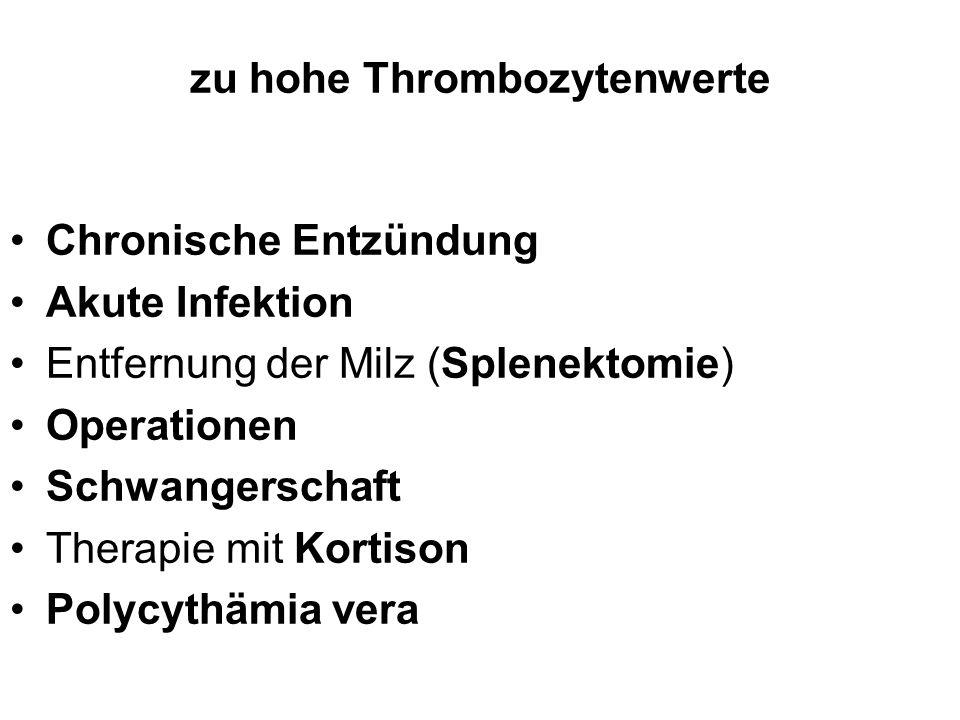 zu hohe Thrombozytenwerte Chronische Entzündung Akute Infektion Entfernung der Milz (Splenektomie) Operationen Schwangerschaft Therapie mit Kortison P