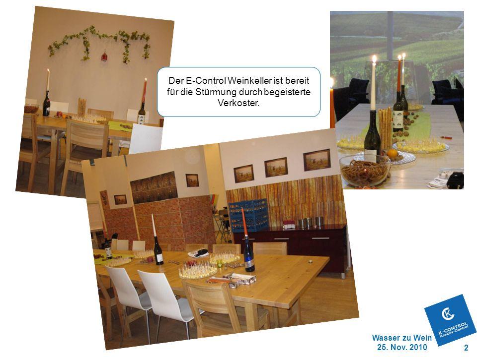 Wasser zu Wein 25. Nov. 2010 2 Der E-Control Weinkeller ist bereit für die Stürmung durch begeisterte Verkoster.