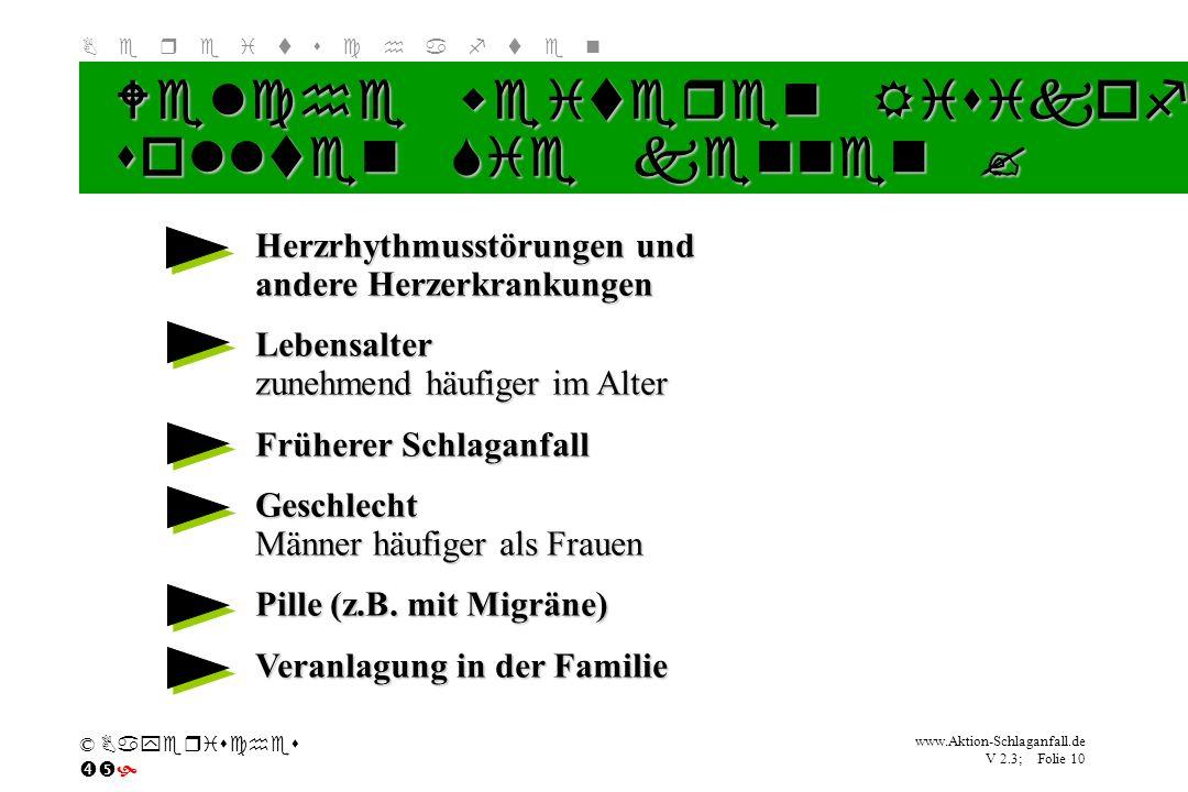 Klicken Sie, um das Titelformat zu bearbeiten B e r e i t s c h a f t e n www.Aktion-Schlaganfall.de V 2.3; Folie 10 © Bayerisches Welche weiteren Ris