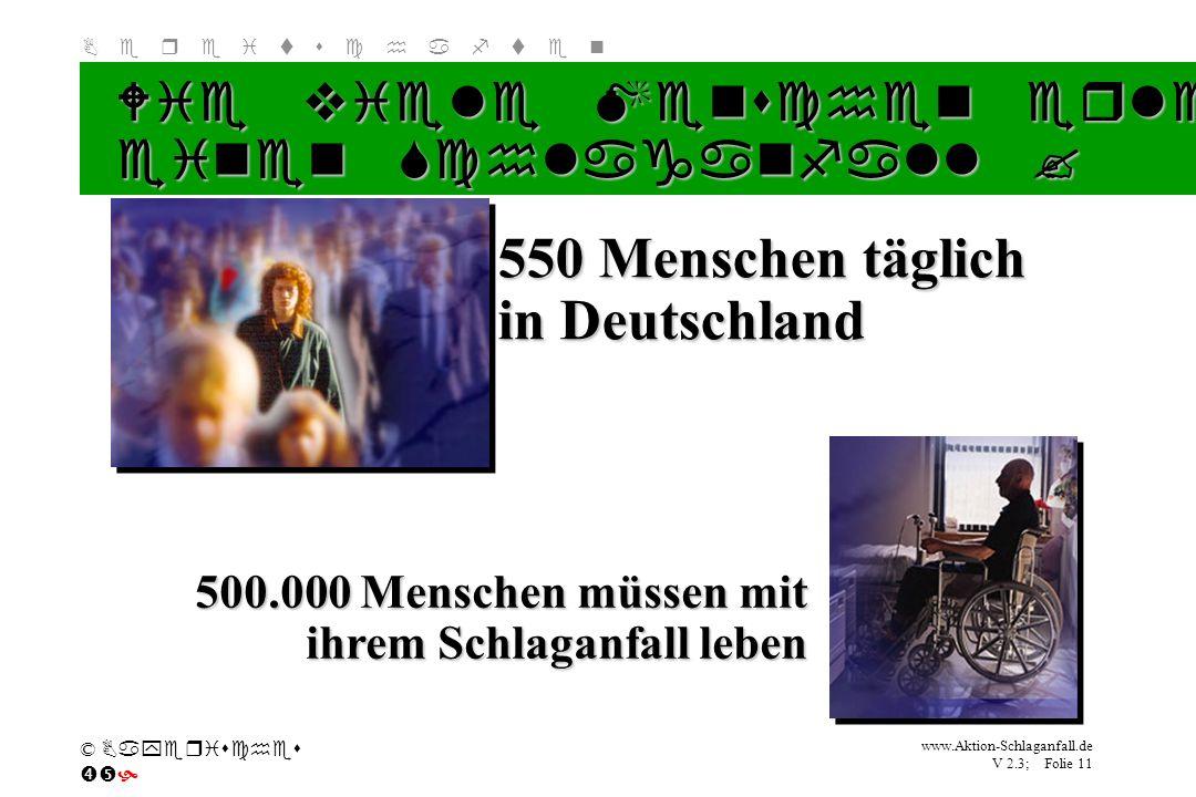 Klicken Sie, um das Titelformat zu bearbeiten B e r e i t s c h a f t e n www.Aktion-Schlaganfall.de V 2.3; Folie 11 © Bayerisches Wie viele Menschen
