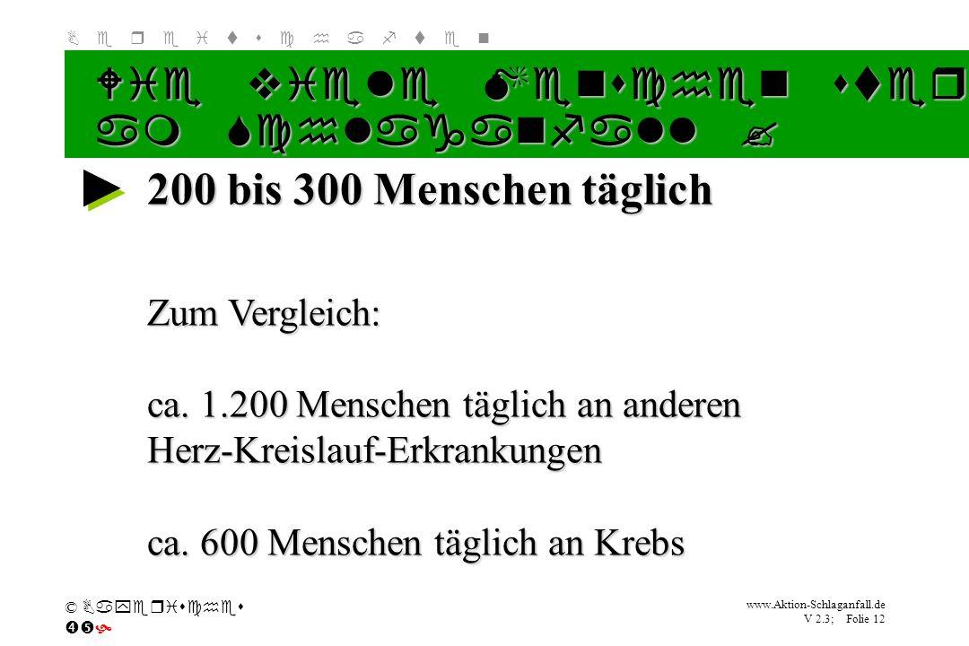 Klicken Sie, um das Titelformat zu bearbeiten B e r e i t s c h a f t e n www.Aktion-Schlaganfall.de V 2.3; Folie 12 © Bayerisches 200 bis 300 Mensche