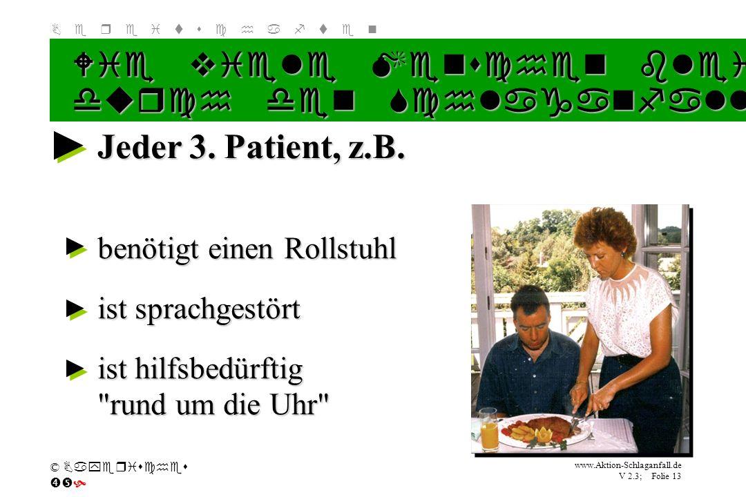 Klicken Sie, um das Titelformat zu bearbeiten B e r e i t s c h a f t e n www.Aktion-Schlaganfall.de V 2.3; Folie 13 © Bayerisches Jeder 3. Patient, z