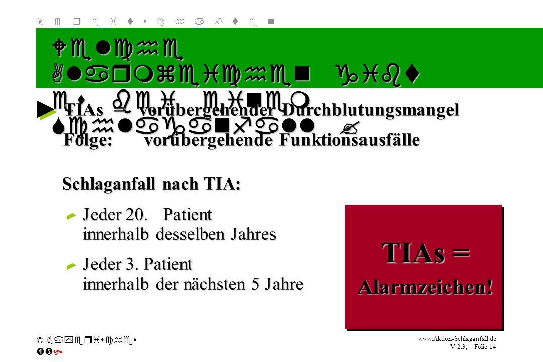Klicken Sie, um das Titelformat zu bearbeiten B e r e i t s c h a f t e n www.Aktion-Schlaganfall.de V 2.3; Folie 14 © Bayerisches Schlaganfall nach T