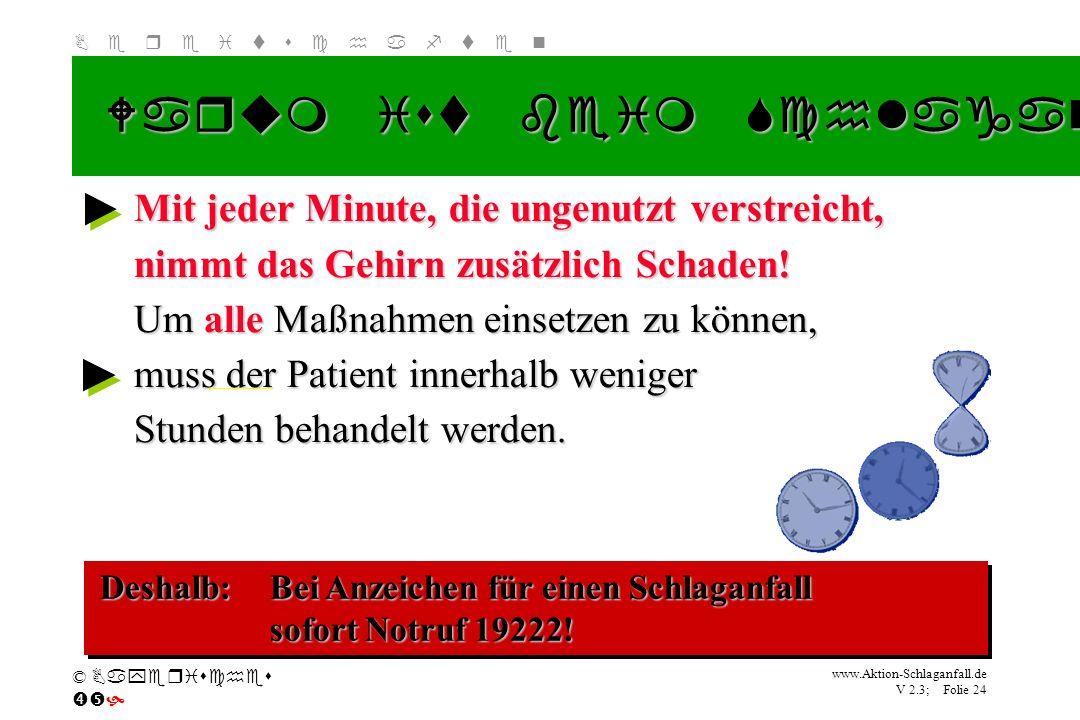 Klicken Sie, um das Titelformat zu bearbeiten B e r e i t s c h a f t e n www.Aktion-Schlaganfall.de V 2.3; Folie 24 © Bayerisches Warum ist beim Schl