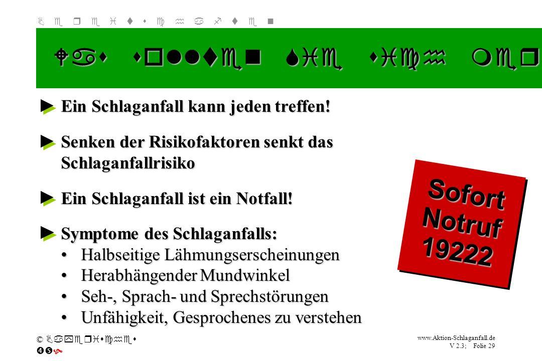 Klicken Sie, um das Titelformat zu bearbeiten B e r e i t s c h a f t e n www.Aktion-Schlaganfall.de V 2.3; Folie 29 © Bayerisches Was sollten Sie sic