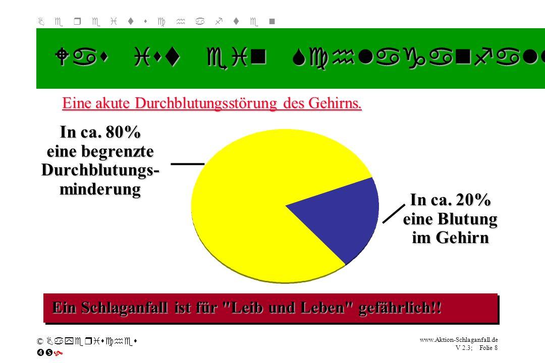 Klicken Sie, um das Titelformat zu bearbeiten B e r e i t s c h a f t e n www.Aktion-Schlaganfall.de V 2.3; Folie 8 © Bayerisches Was ist ein Schlagan