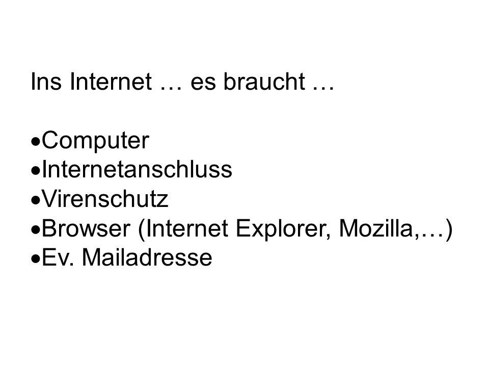 Ins Internet … es braucht … Computer Internetanschluss Virenschutz Browser (Internet Explorer, Mozilla,…) Ev. Mailadresse