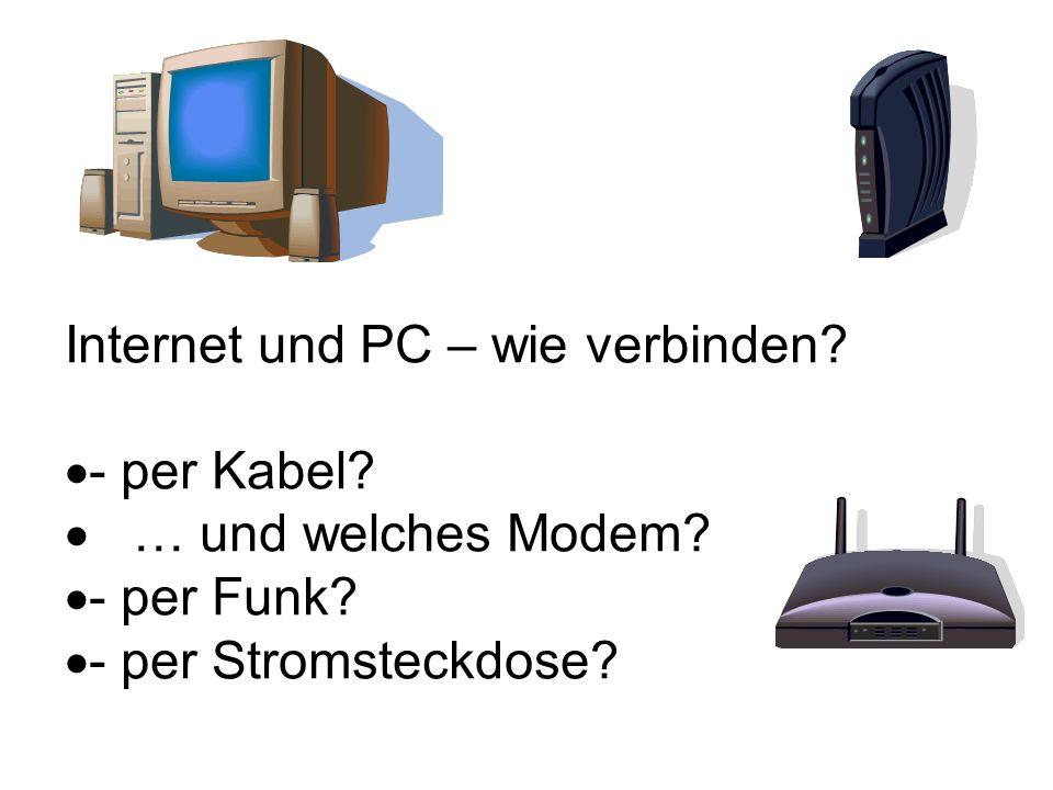 Internet und PC – wie verbinden? - per Kabel? … und welches Modem? - per Funk? - per Stromsteckdose?