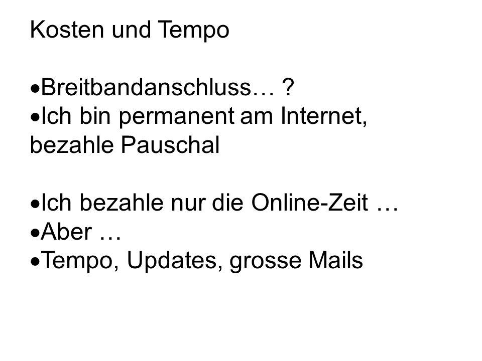 Kosten und Tempo Breitbandanschluss… .