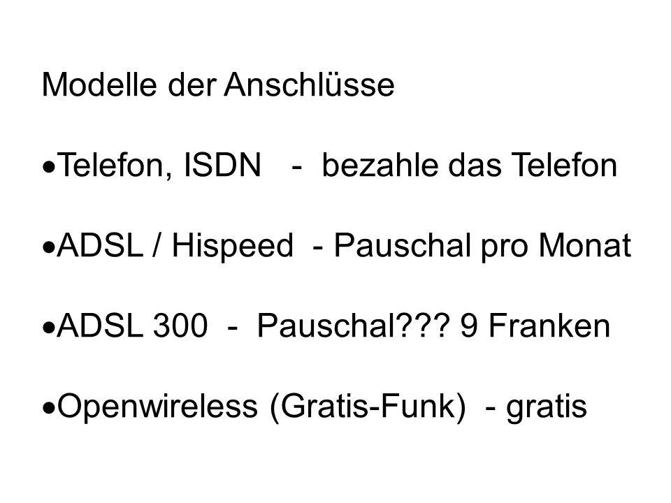 Modelle der Anschlüsse Telefon, ISDN - bezahle das Telefon ADSL / Hispeed - Pauschal pro Monat ADSL 300 - Pauschal??.