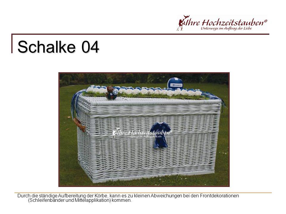 Schalke 04 Durch die ständige Aufbereitung der Körbe, kann es zu kleinen Abweichungen bei den Frontdekorationen (Schleifenbänder und Mittelapplikation) kommen.